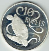 Seychelles, Silver (.925), 10 Rupees 1974 (Sea Turtle), UNC (Proof), WB7216